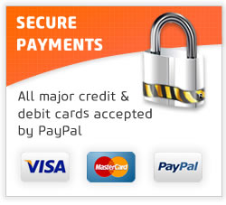 Secure Payment - All major credit & debit cards accepted by PayPal