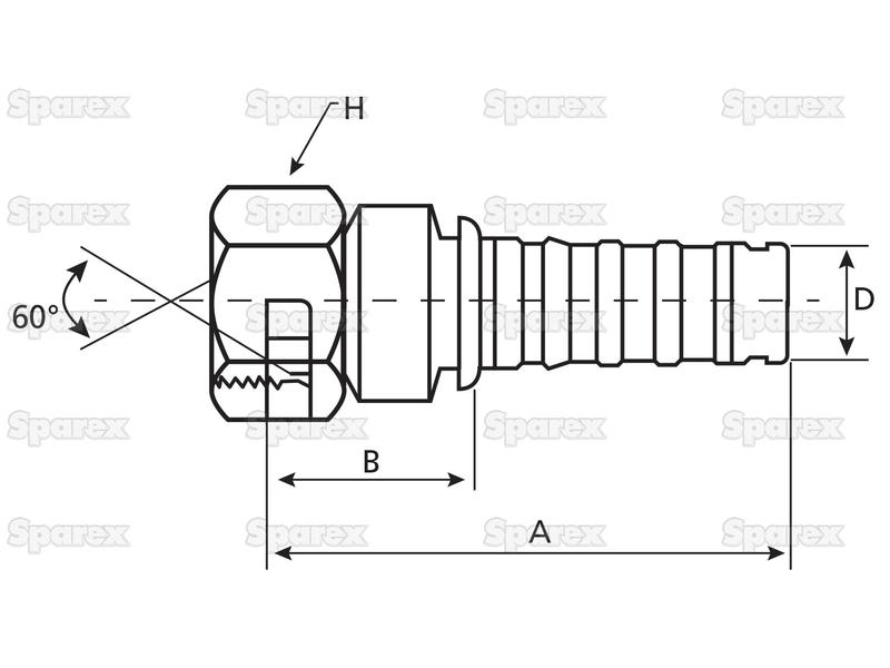 Gates BSP 60° Hose Insert 5/8'' x 5/8'''' Female Straight Swivel - view 1