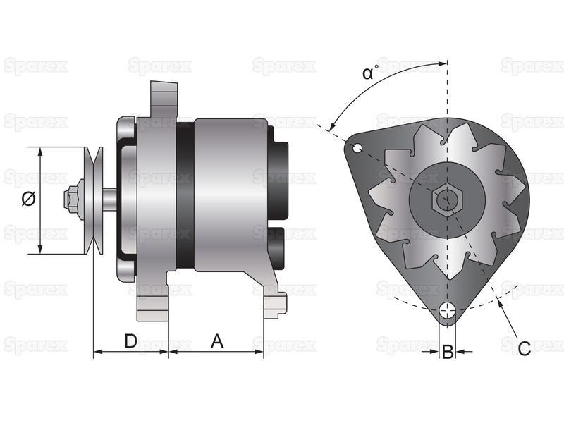 alternator mahle 14v 65 amps for landini. Black Bedroom Furniture Sets. Home Design Ideas