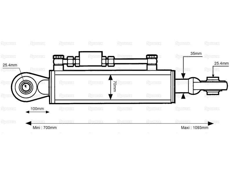 Hydraulic Top Link (Cat. 2/2) Ball and Ball, Cylinder Bore : 70mm, Min. Length : 700mm. - view 1