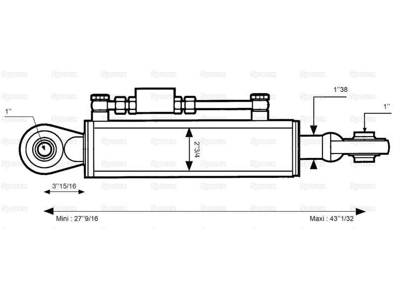 Hydraulic Top Link (Cat. 2/2) Ball and Ball, Cylinder Bore : 70mm, Min. Length : 700mm. - view 2