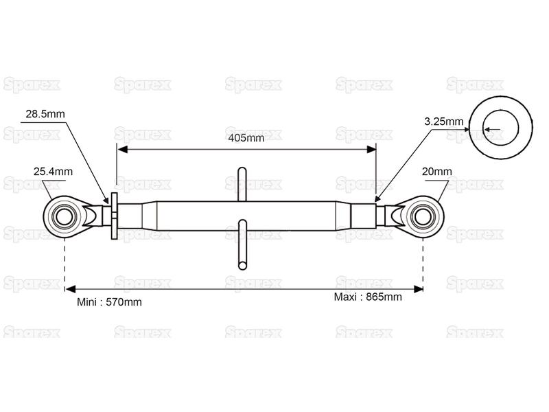 Top Link Standard Duty (Cat.20mm/2) Ball and Ball, Min. Length: 572mm. - view 1