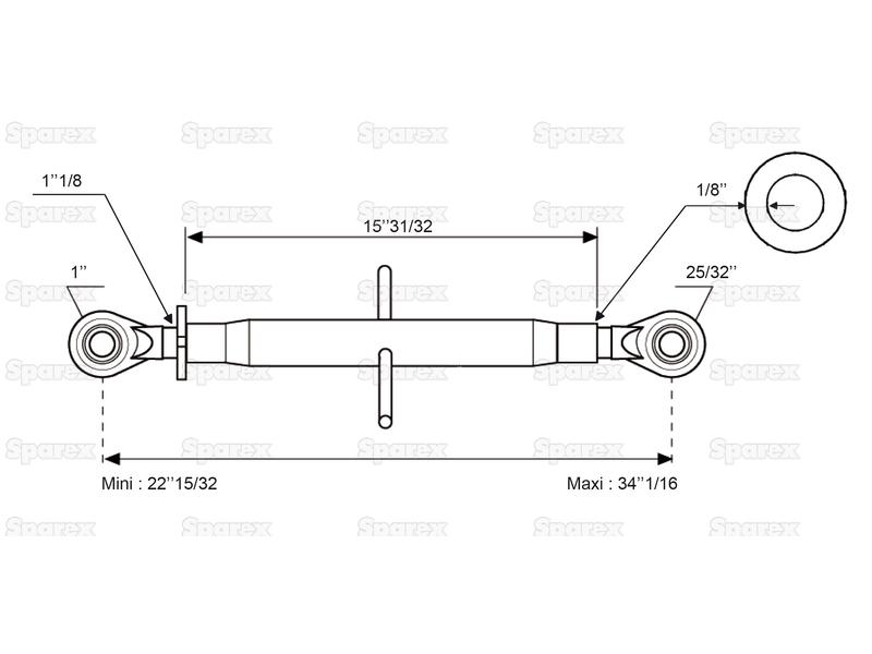 Top Link Standard Duty (Cat.20mm/2) Ball and Ball, Min. Length: 572mm. - view 2