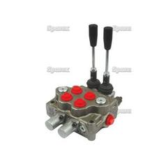 "Hydraulic Monoblock Valve 3/8""BSP ports 2 Bank Double/Double Acting Spring centered with handle"