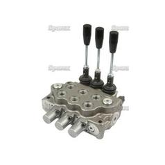 "Hydraulic Monoblock Valve 3/8""BSP ports 3 Bank - Double/Double/Double Acting Spring centered with handle"