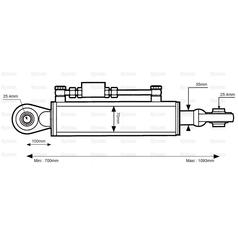 Hydraulic Top Link (Cat.2/2) Ball and Ball, Cylinder Bore: 70mm, Min. Length : 700mm. - view 2
