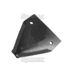Knife section - over serrated -  83x76x2.75mm -  Hole Ø19mm -  Hole centres  52mm - Replacement forNew Holland