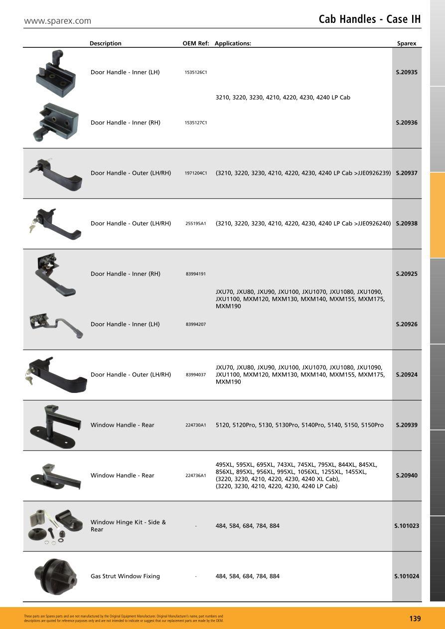 Cab Glass Cab Handles (Page 141) | Sparex Parts Lists & Diagrams