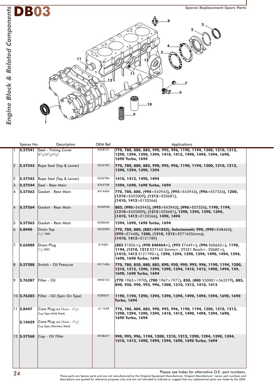David Brown Engine Page 26 Sparex Parts Lists Diagrams Diagram Names S70349 Db03 24