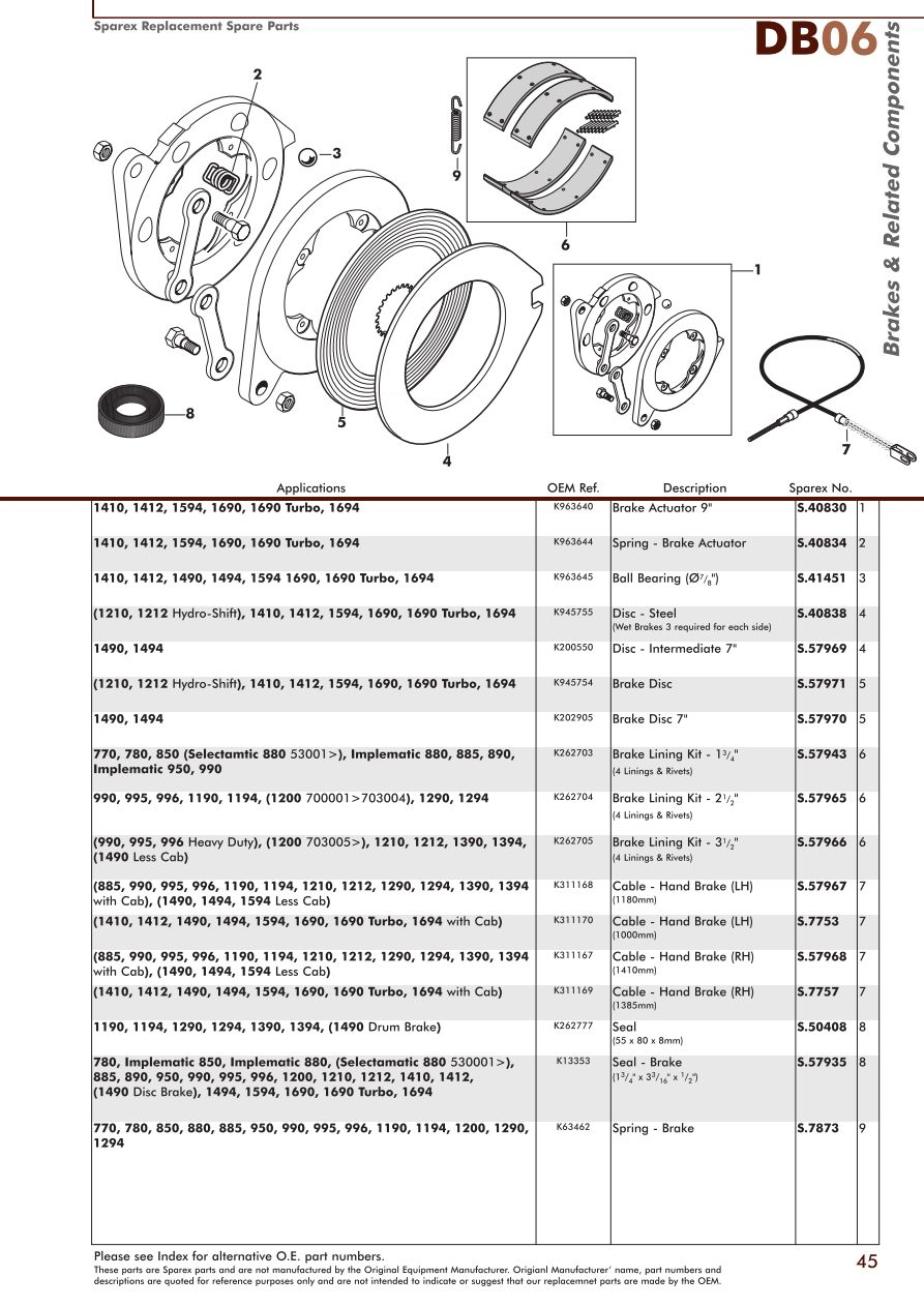 David Brown Brakes Page 47 Sparex Parts Lists Diagrams Renault Tractor Wiring Diagram S70349 Db06 45