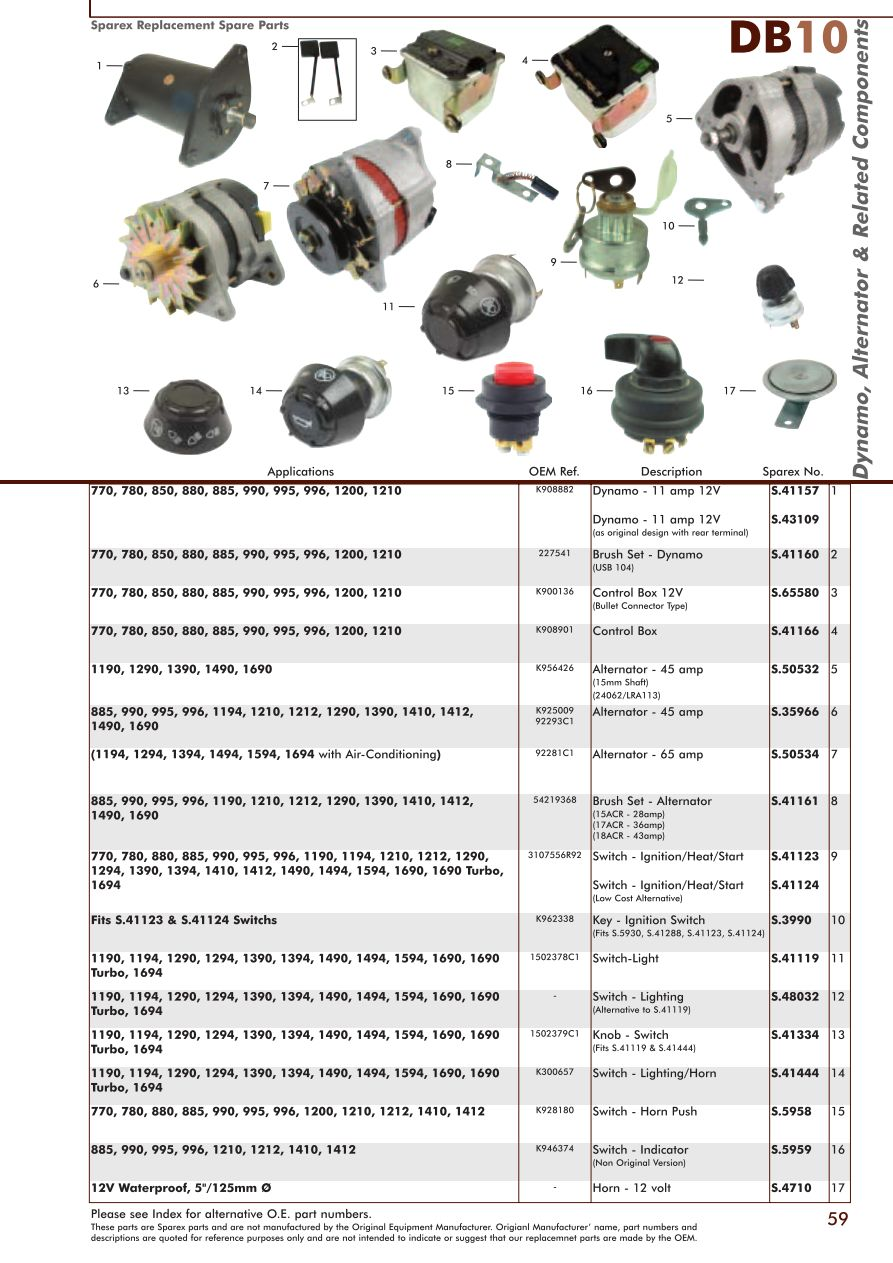 DB10_59 david brown electrics & instruments (page 61) sparex parts lists david brown 990 wiring diagram at mifinder.co