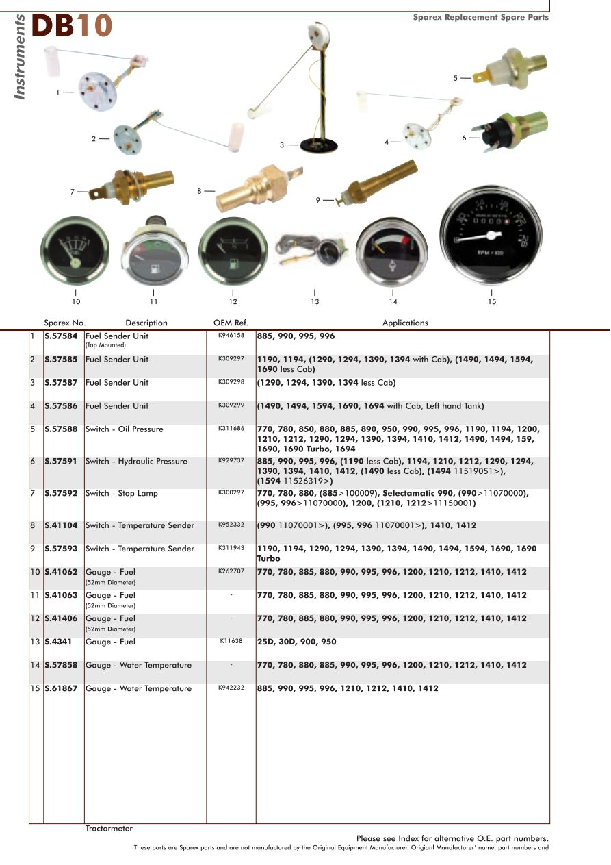 david brown electrics & instruments (page 62) sparex parts lists case 222 tractor wiring diagrams s 70349 david brown db10 60