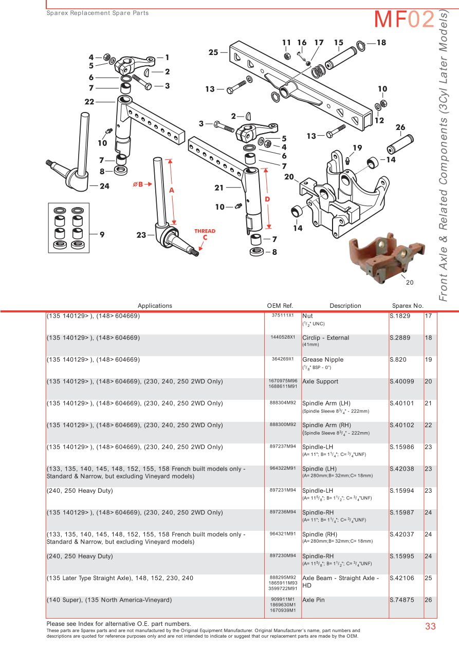 case 155 wiring diagram massey ferguson front axle  page 43  sparex parts lists  massey ferguson front axle  page 43  sparex parts lists