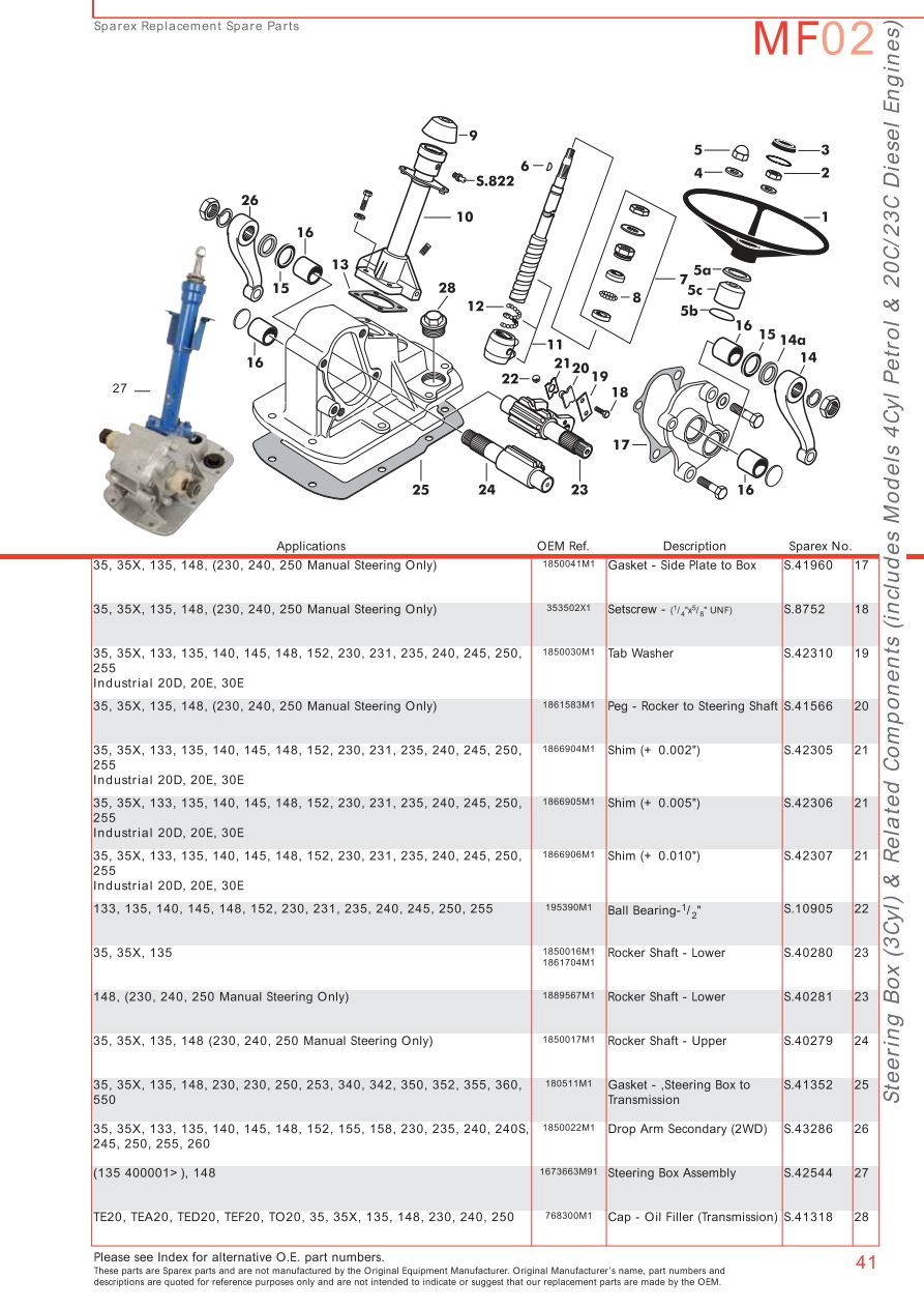 Massey Ferguson 180 Parts Diagram : Massey ferguson front axle page sparex parts lists