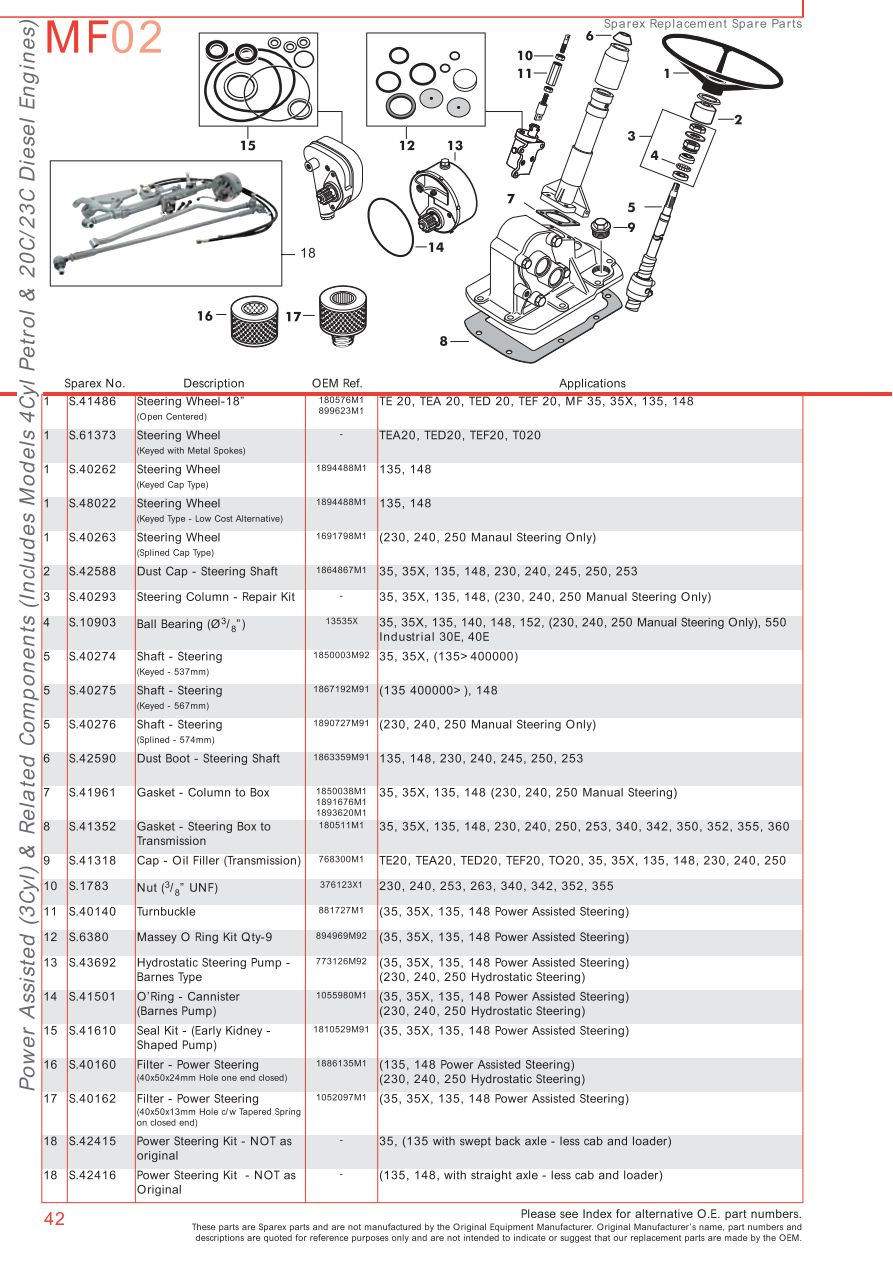 Mf 235 Steering Box : Massey ferguson front axle page sparex parts lists