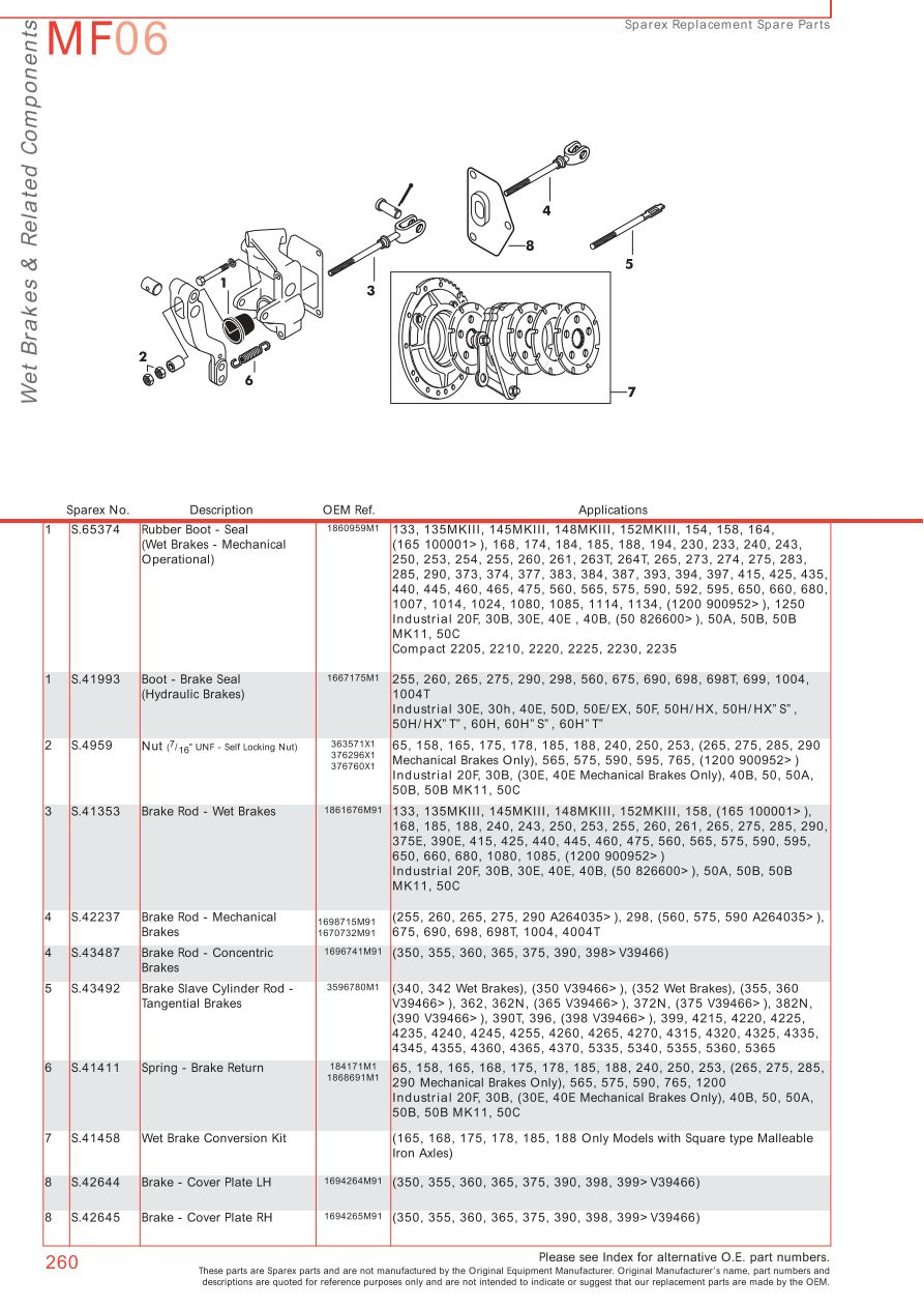 Massey Ferguson Brakes (Page 270) | Sparex Parts Lists & Diagrams