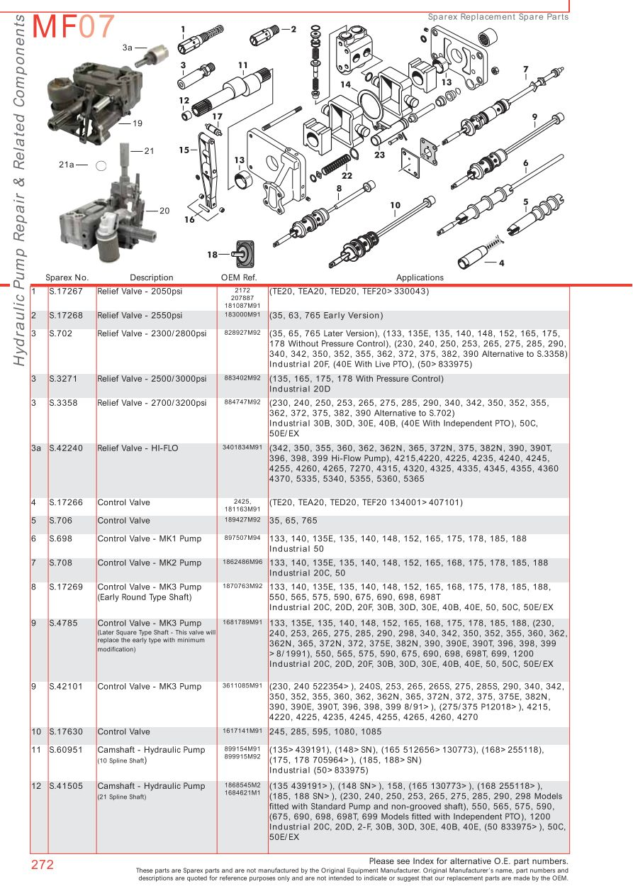 MF07_272 massey ferguson hydraulic pumps (page 282) sparex parts lists  at n-0.co
