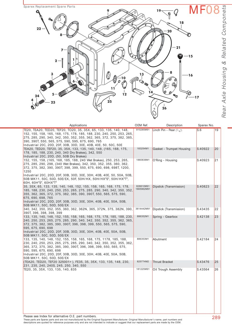 MF08_289 massey ferguson rear axle (page 299) sparex parts lists ferguson te20 wiring diagram at gsmx.co