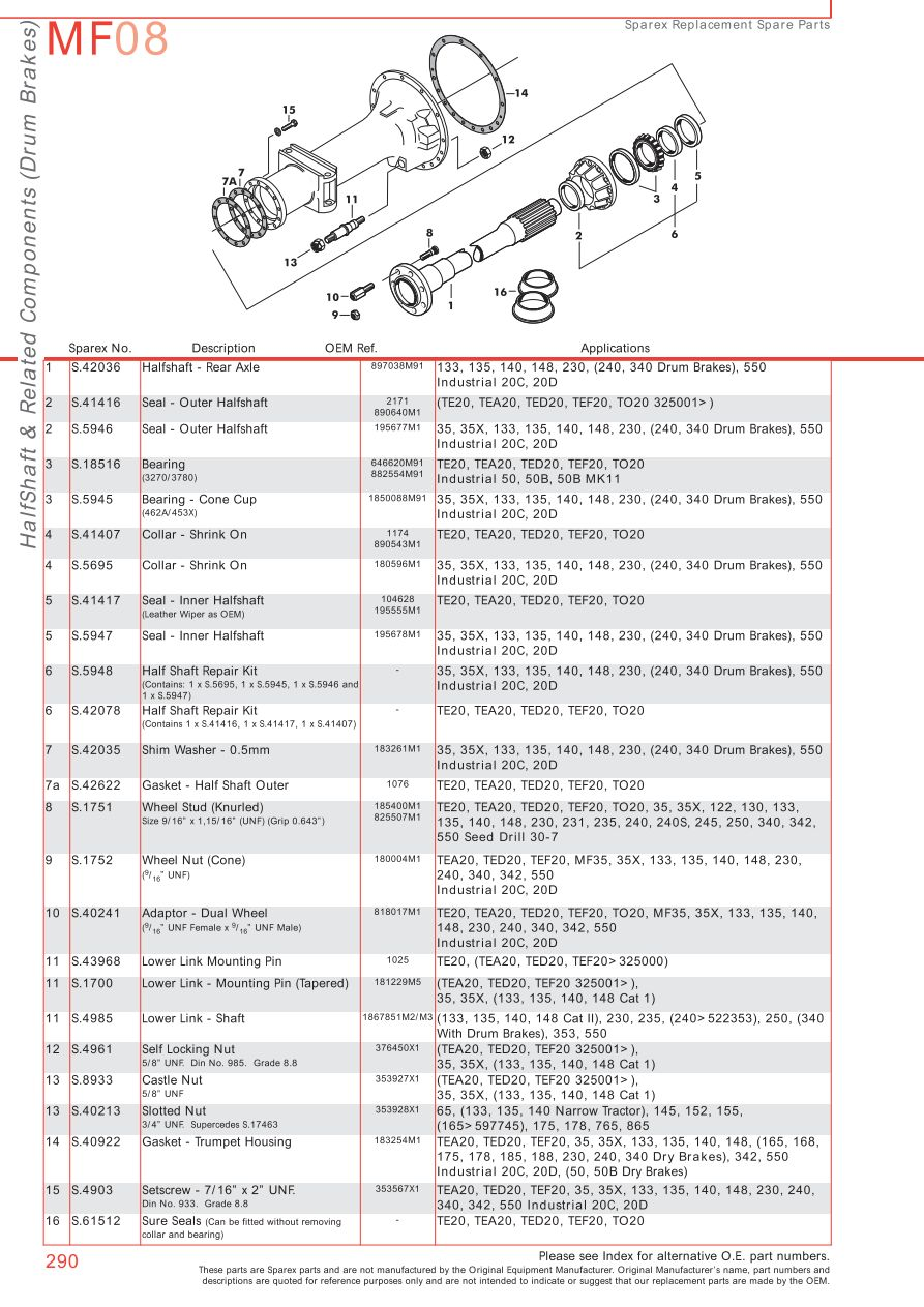 MF08_290 massey ferguson rear axle (page 300) sparex parts lists & diagrams