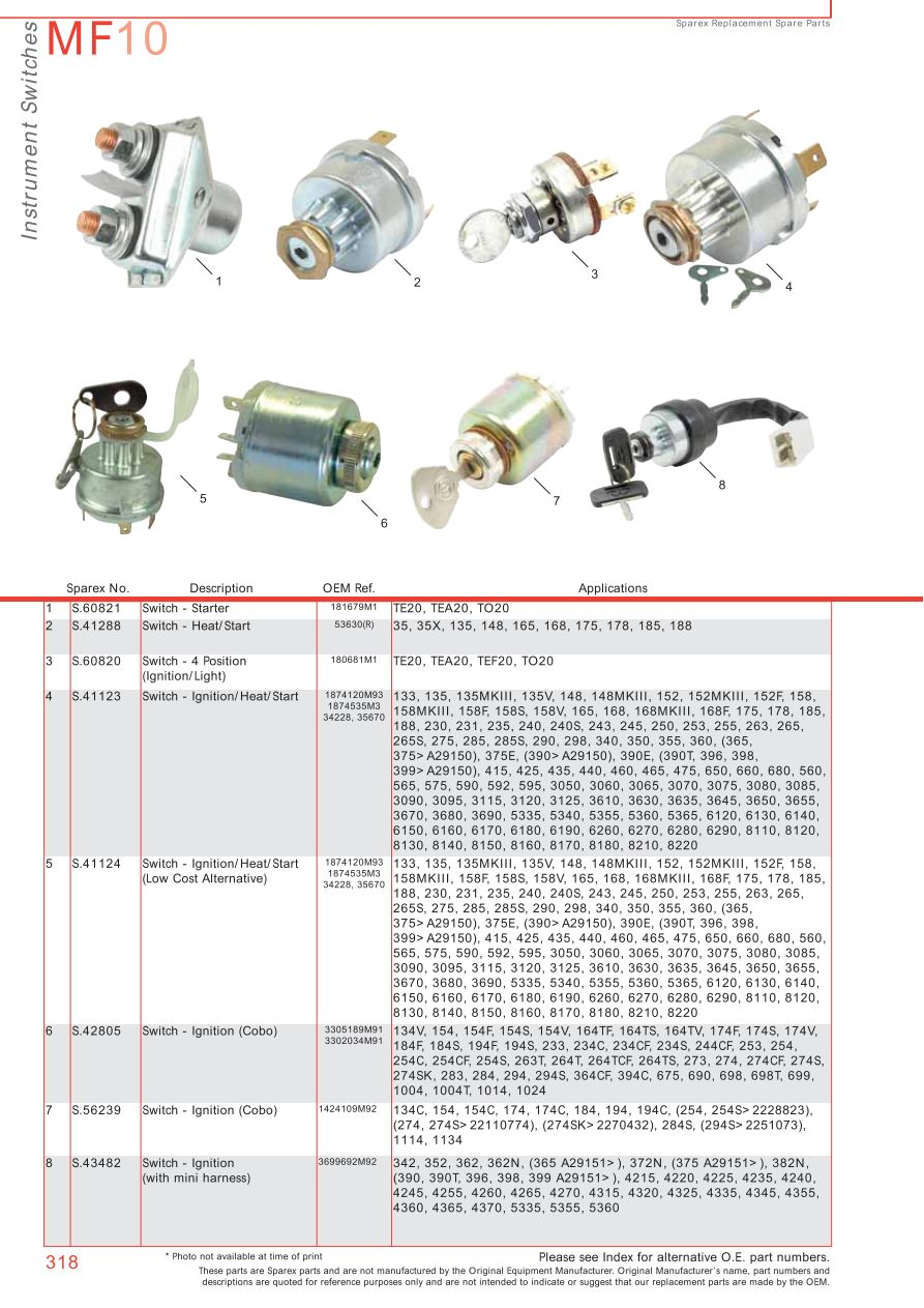Massey Ferguson Electrics & Instruments (Page 328) | Sparex Parts