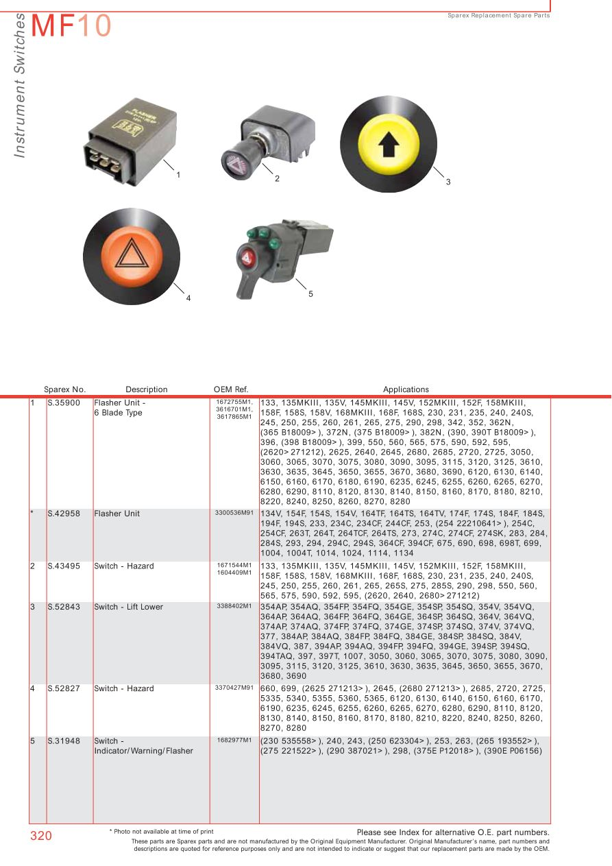 Massey Ferguson Electrics Instruments Page 330 Sparex Parts T20 Wiring Diagram S70375 Mf10 320