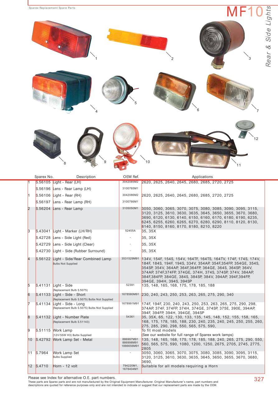 Massey Ferguson Electrics Instruments Page 337 Sparex Parts T20 Wiring Diagram S70375 Mf10 327