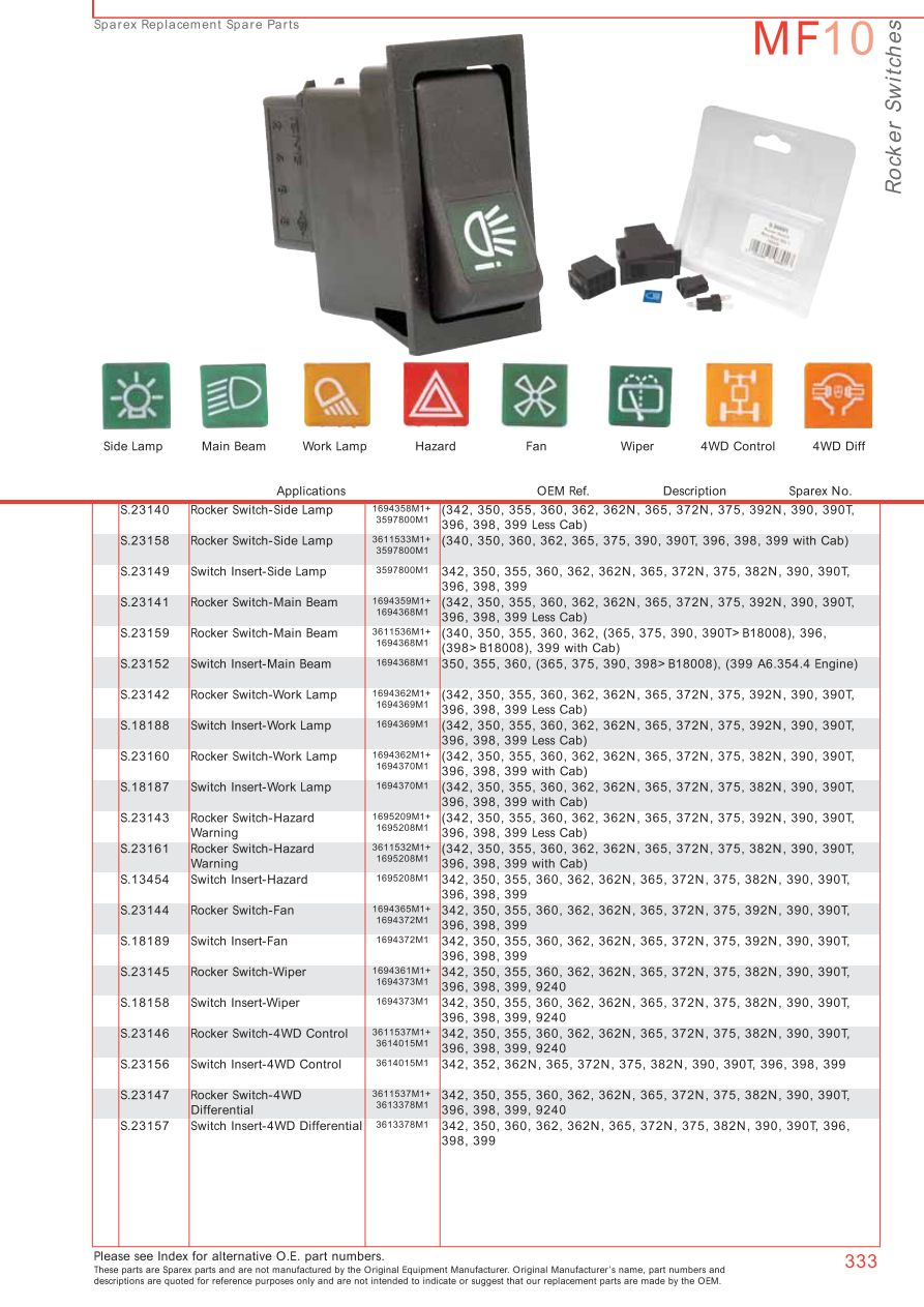 Massey Ferguson Electrics Instruments Page 343 Sparex Parts