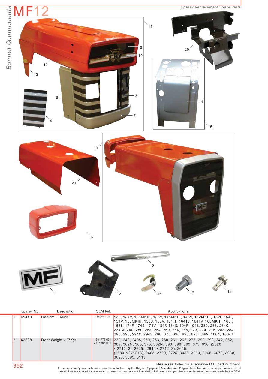 massey ferguson panels decals paint page 362 sparex parts lists diagrams