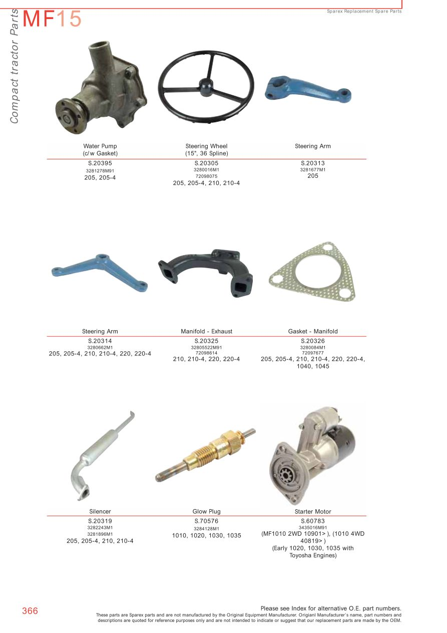Tractor Parts Names : Massey ferguson compact tractor parts page sparex