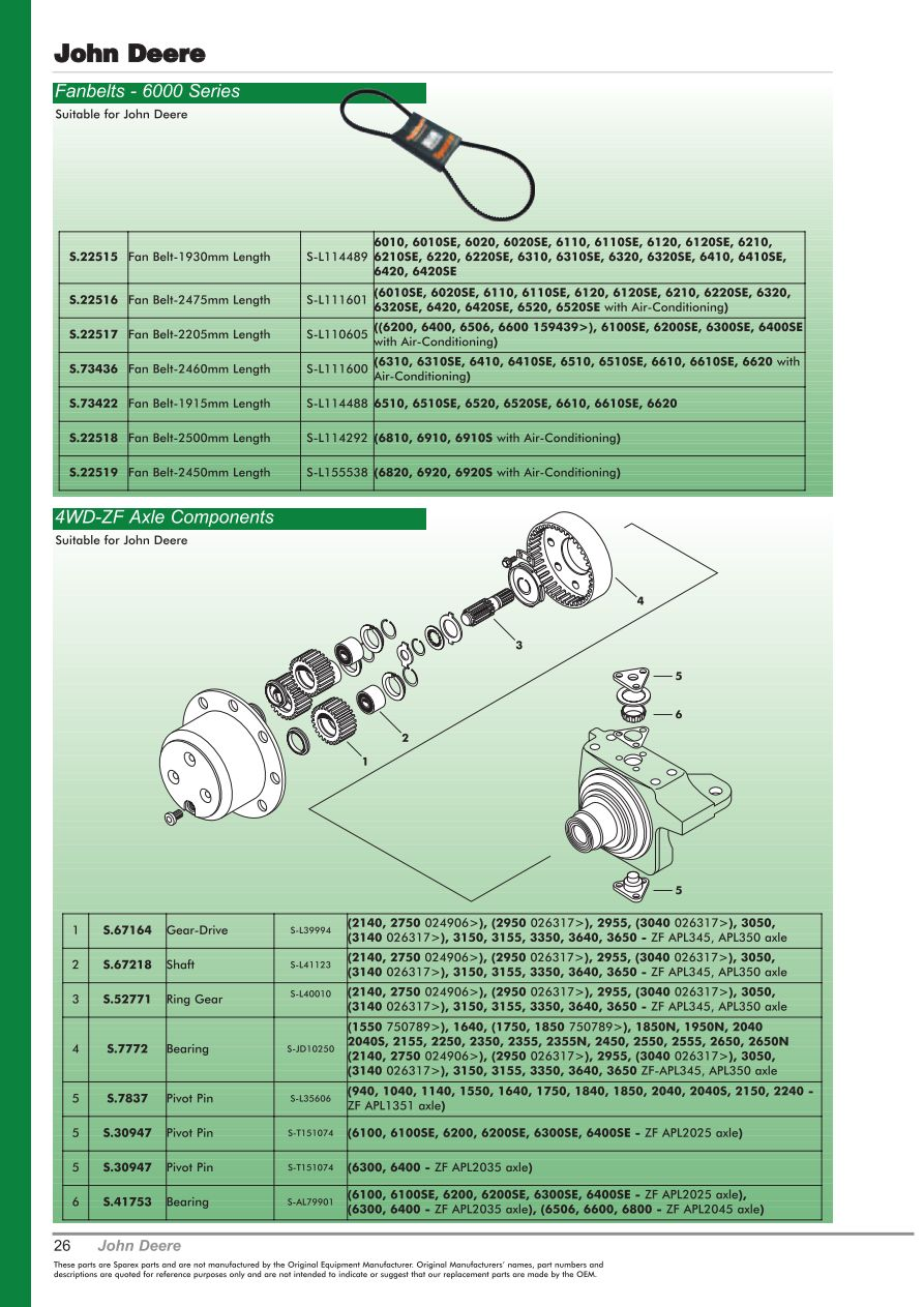 Oe New Products Front Cover Page 28 Sparex Parts Lists John Deere 6200 Fuse Box Diagram S70473 Oe00 26