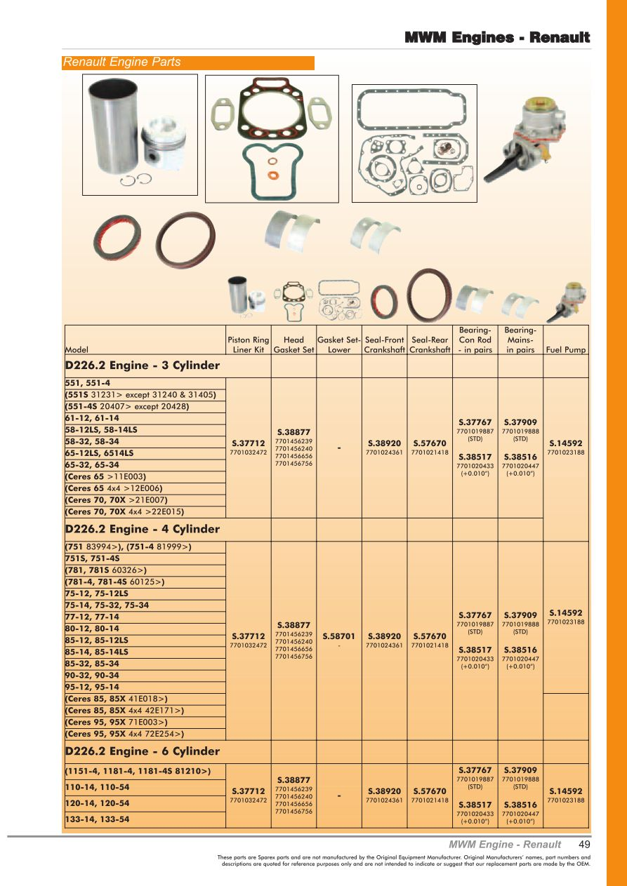Oe New Products Contents Page 51 Sparex Parts Lists Diagrams Renault Engine Cooling Diagram S70473 Oe00 49