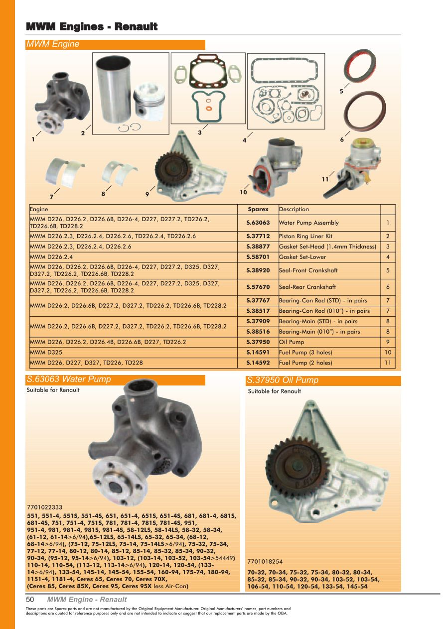 OE New Products Front Cover (Page 52)   Sparex Parts Lists