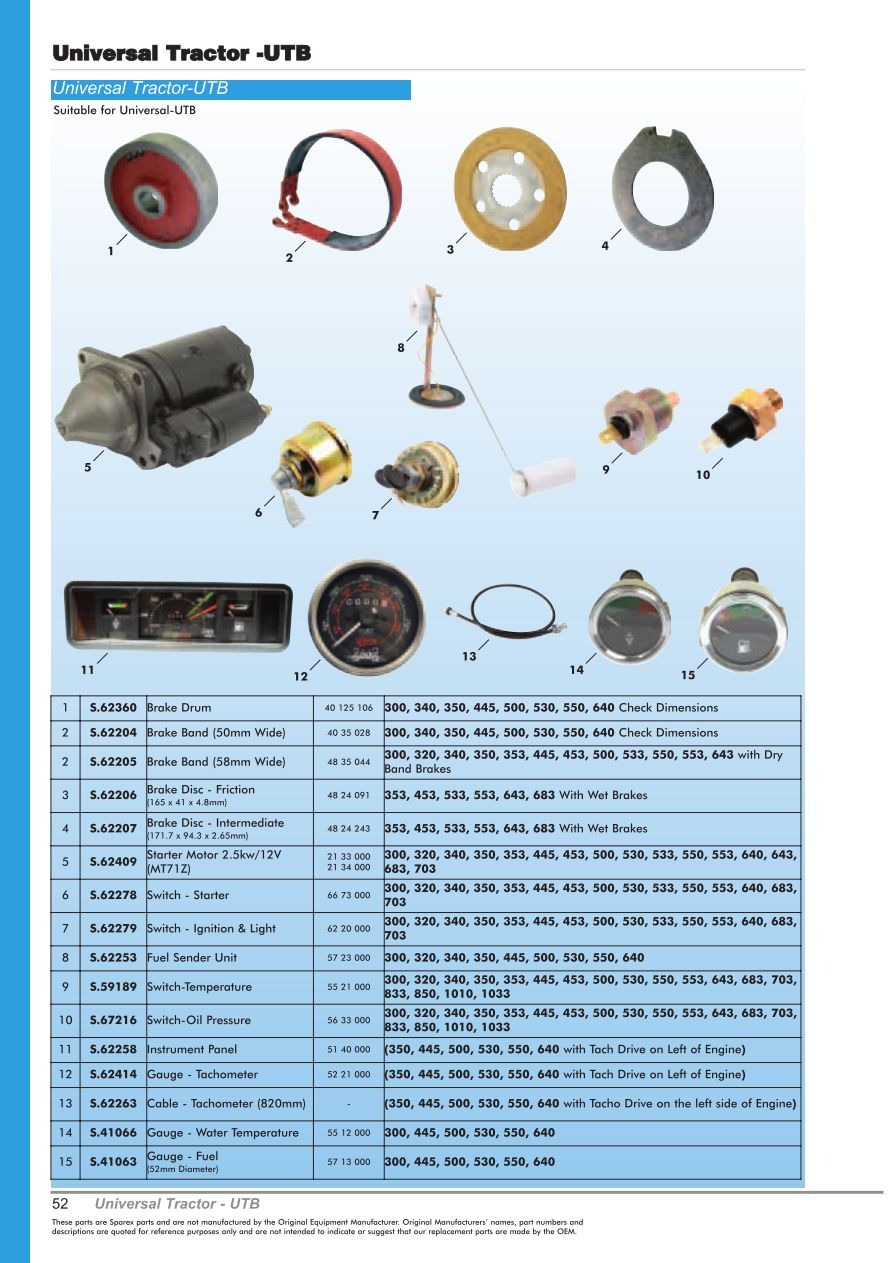 OE New Products Contents (Page 54) | Sparex Parts Lists & Diagrams ...