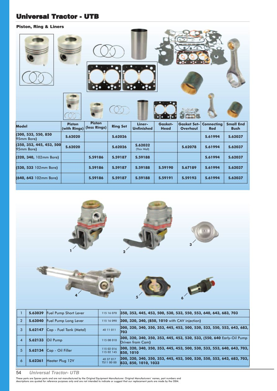 OE New Products Contents (Page 56) | Sparex Parts Lists & Diagrams ...