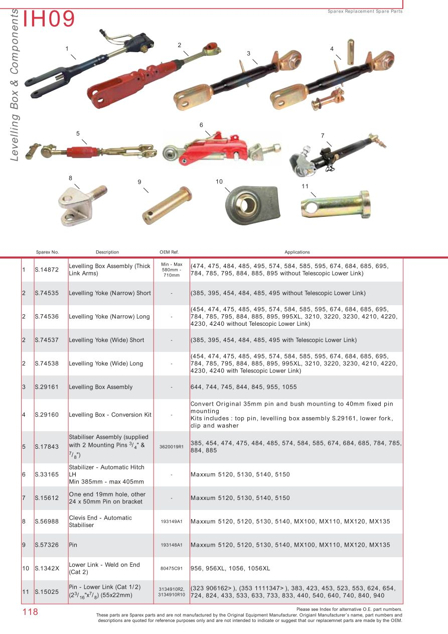 Case Ih Catalogue Rear Linkage Page 124 Sparex Parts Lists International 454 Wiring Diagram S73932 Ih09 118