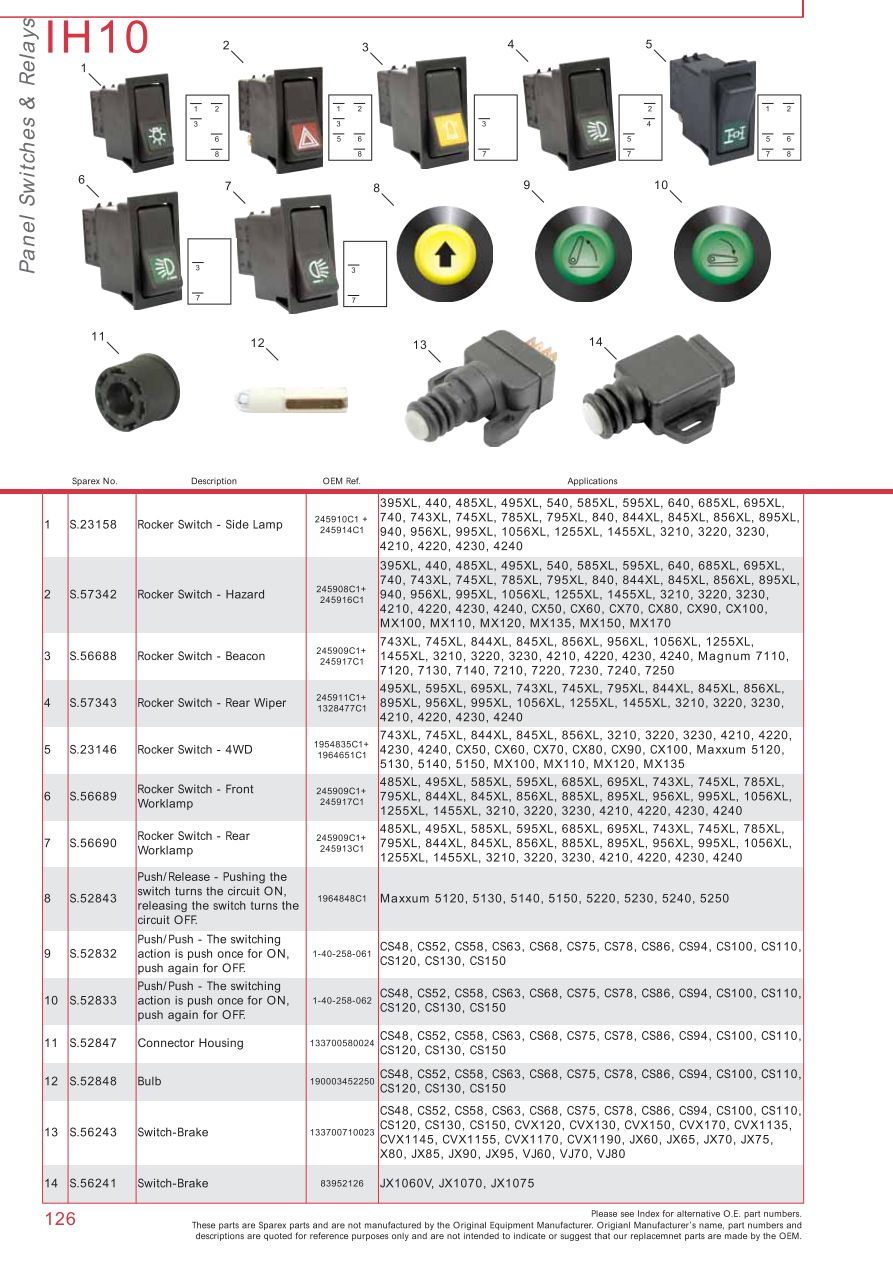 IH10_126 case ih catalogue electrics & instruments (page 132) sparex case 4230 wiring diagram at nearapp.co