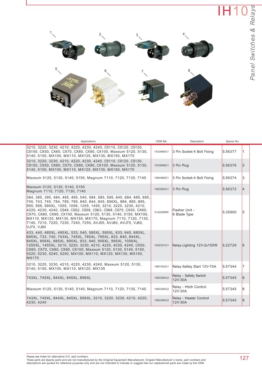 IH10_127 case ih catalogue electrics & instruments (page 133) sparex case 4230 wiring diagram at nearapp.co