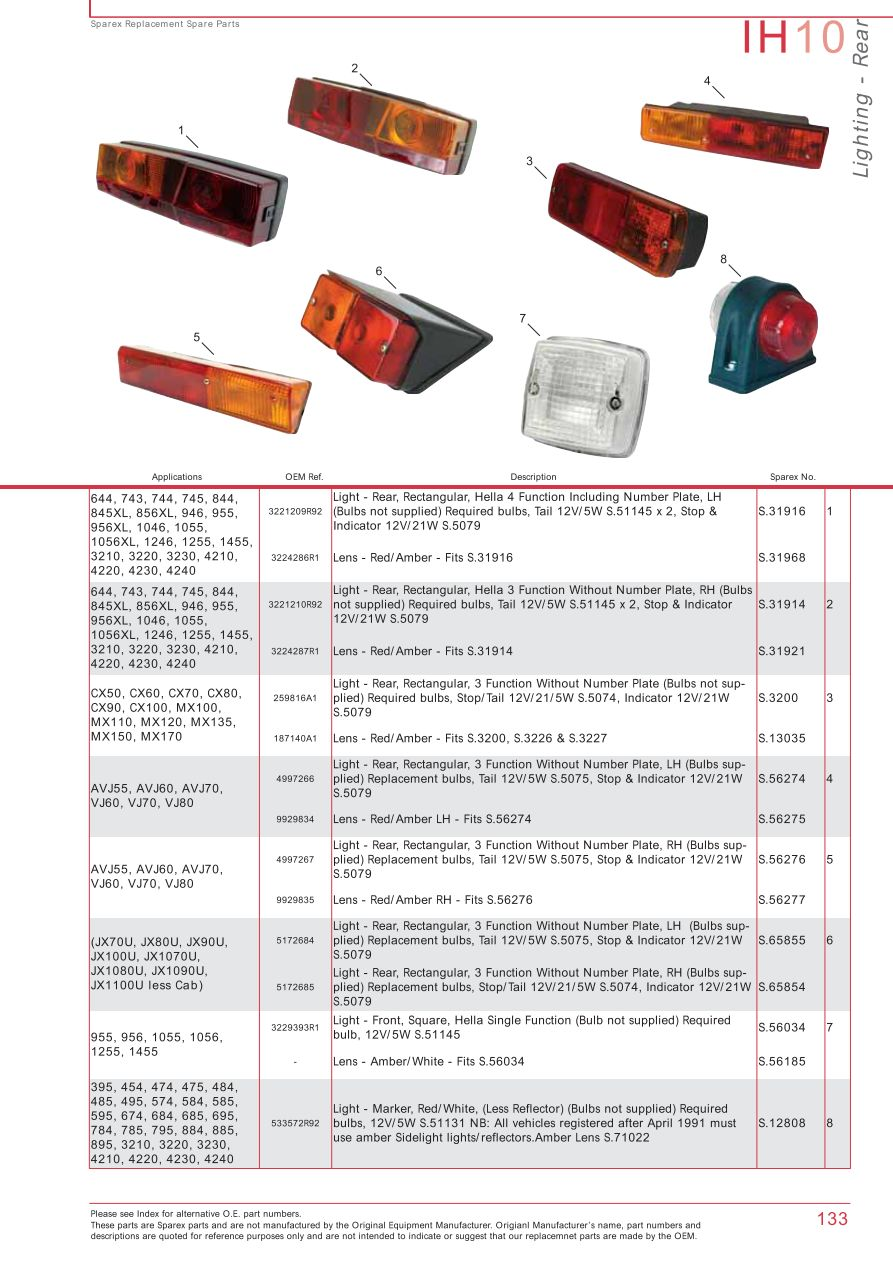 Case IH Catalogue Electrics & Instruments (Page 139) | Sparex Parts Starter Wiring Diagram Tractor Ih on