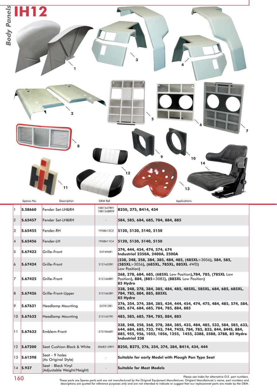 case ih catalogue body panels, decals \u0026 paint (page 166) sparexs 73932 case ih catalogue ih12 160