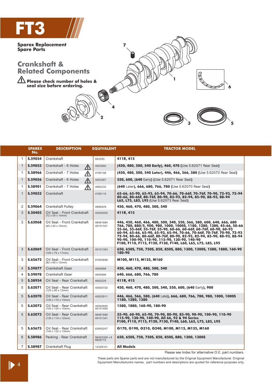 Fiat Engine Page 46 Sparex Parts Lists Diagrams Malpasonline Crankshaft Diagram S70318 Ft03 4