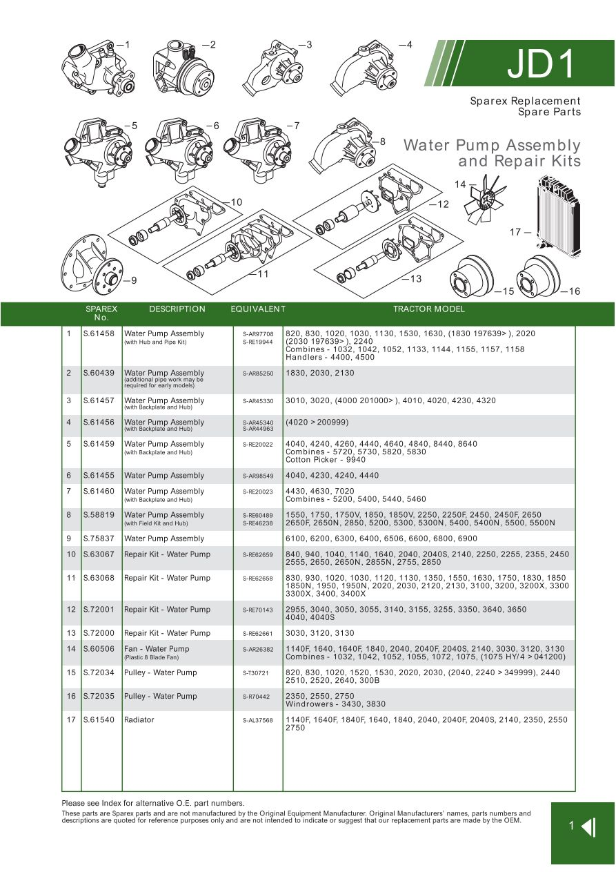 john deere contents page 9 sparex parts lists diagrams rh malpasonline co uk