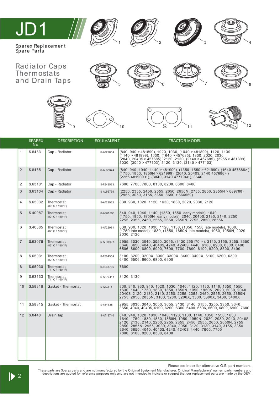 john deere contents (page 10) sparex parts lists & diagrams including John  Deere 820