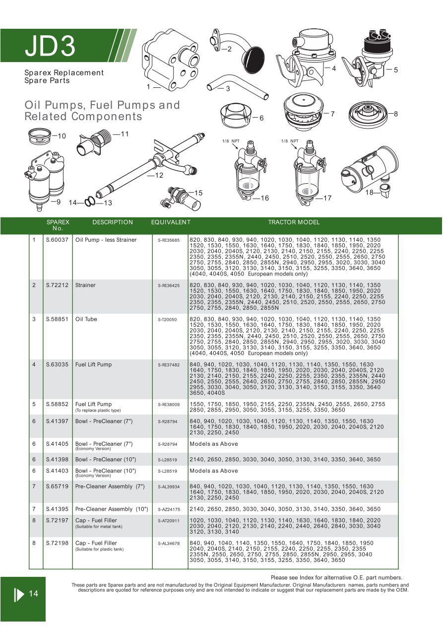 John Deere Engine Replacement Parts Page 48 Sparex Lists. S70296 John Deere Jd0314. John Deere. John Deere 2030 Pto Shaft Diagram At Scoala.co