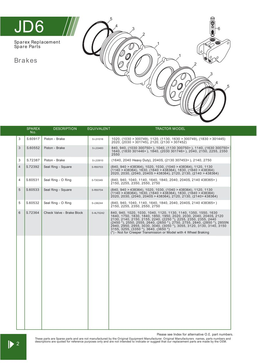 JD06_2 john deere brakes (page 78) sparex parts lists & diagrams