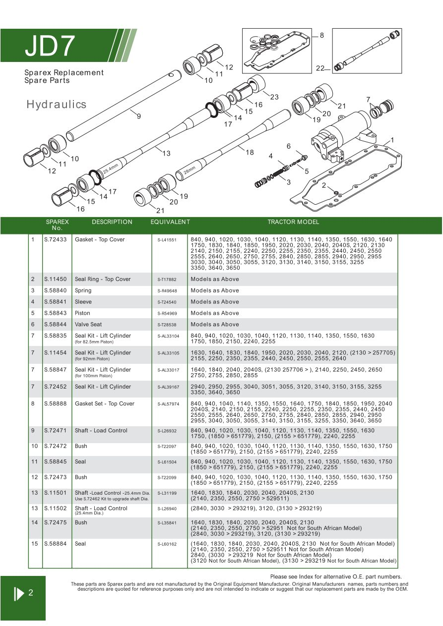 John Deere Hydraulic Pumps Components Page 82 Sparex Parts Jd 2355 Wiring Diagram S70296 Jd07 2