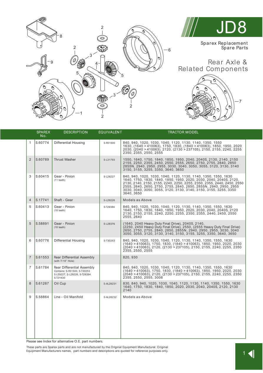 JD08_1 john deere rear axle & related components (page 87) sparex parts