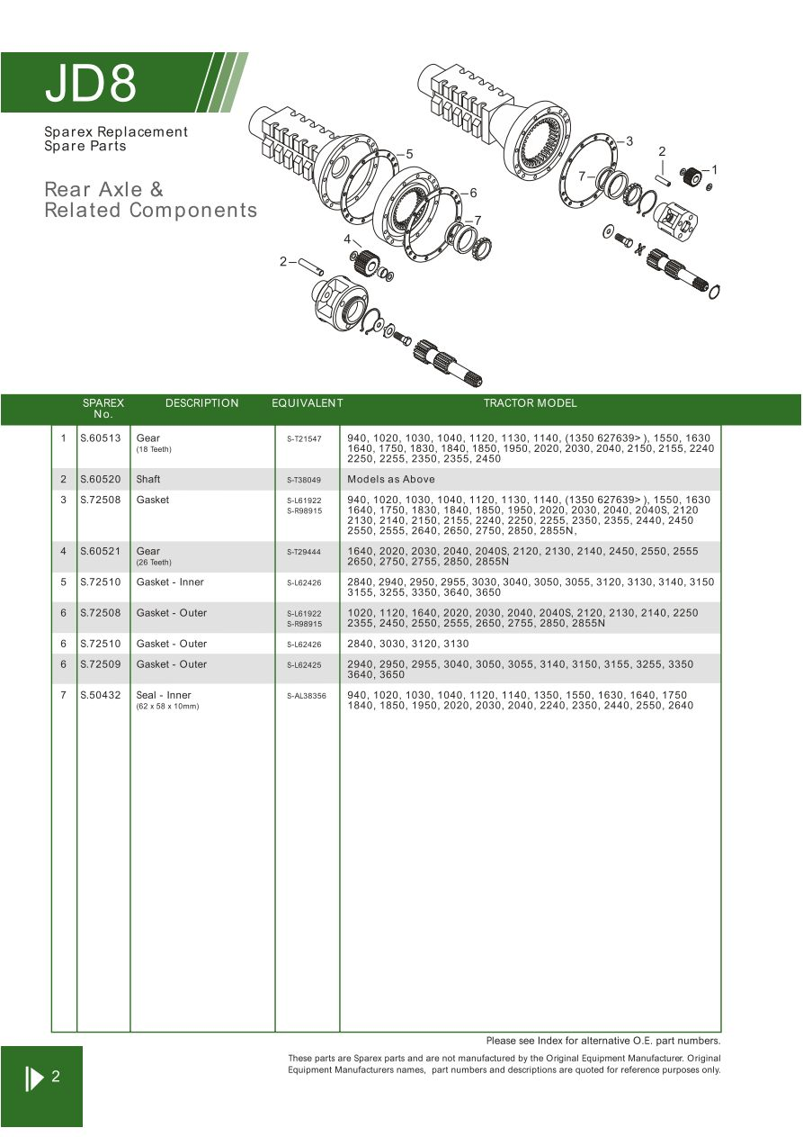 JD08_2 john deere rear axle & related components (page 88) sparex parts
