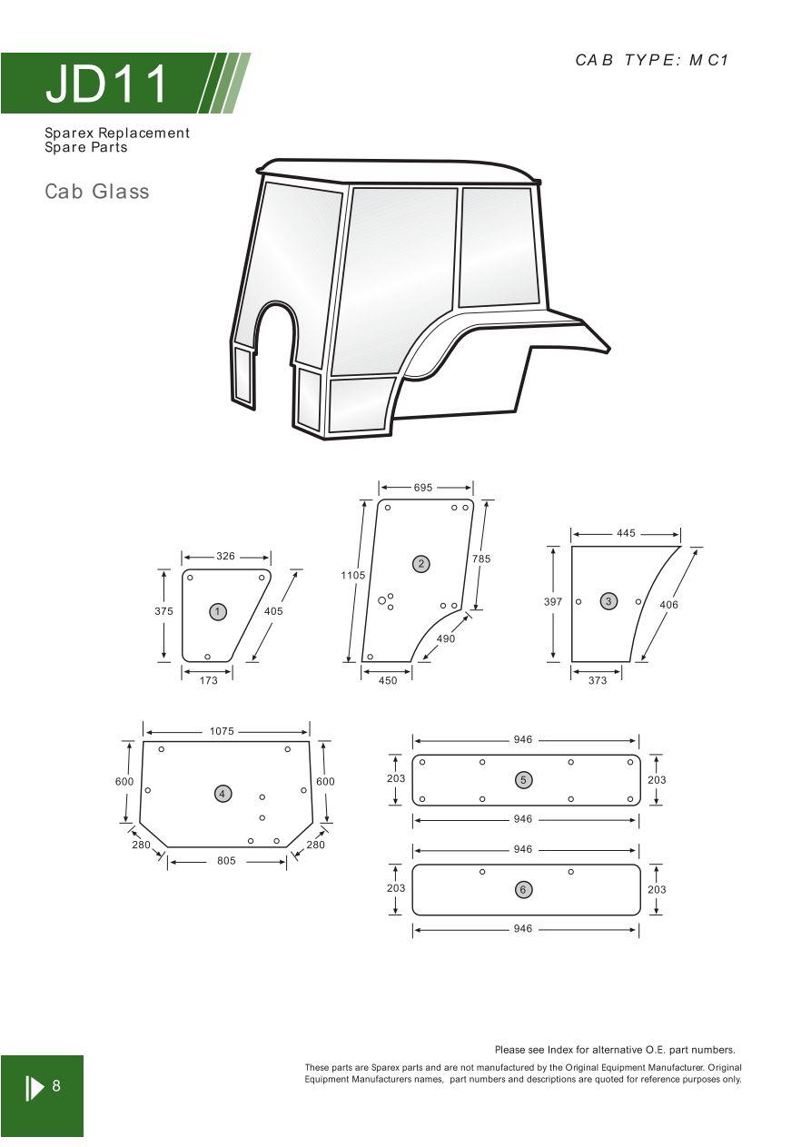 John Deere Cab Glass  U0026 Cab Components  Page 112