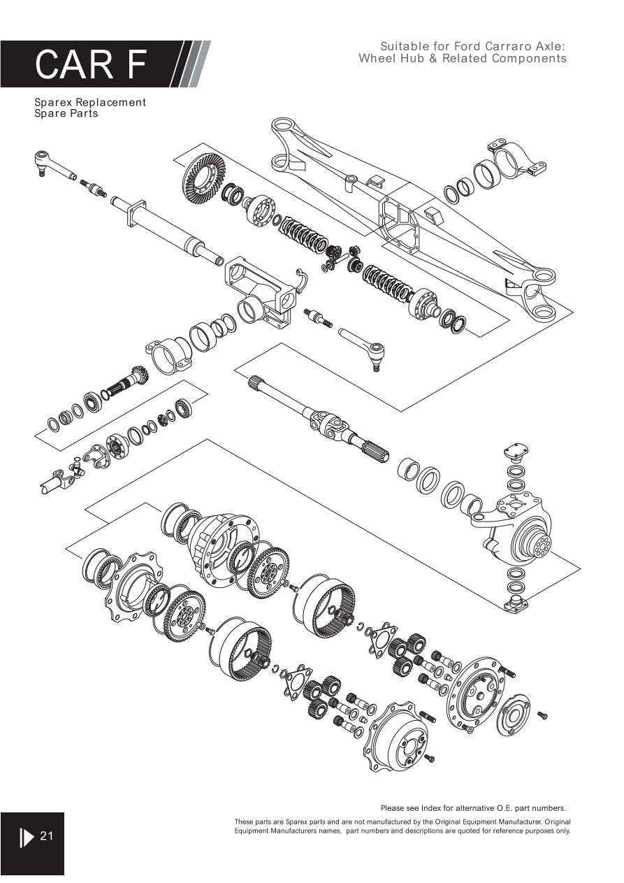4wd carraro axle suitable for ford page 26 sparex parts lists T5 Parts Diagram s 70303 4wd fw02 21