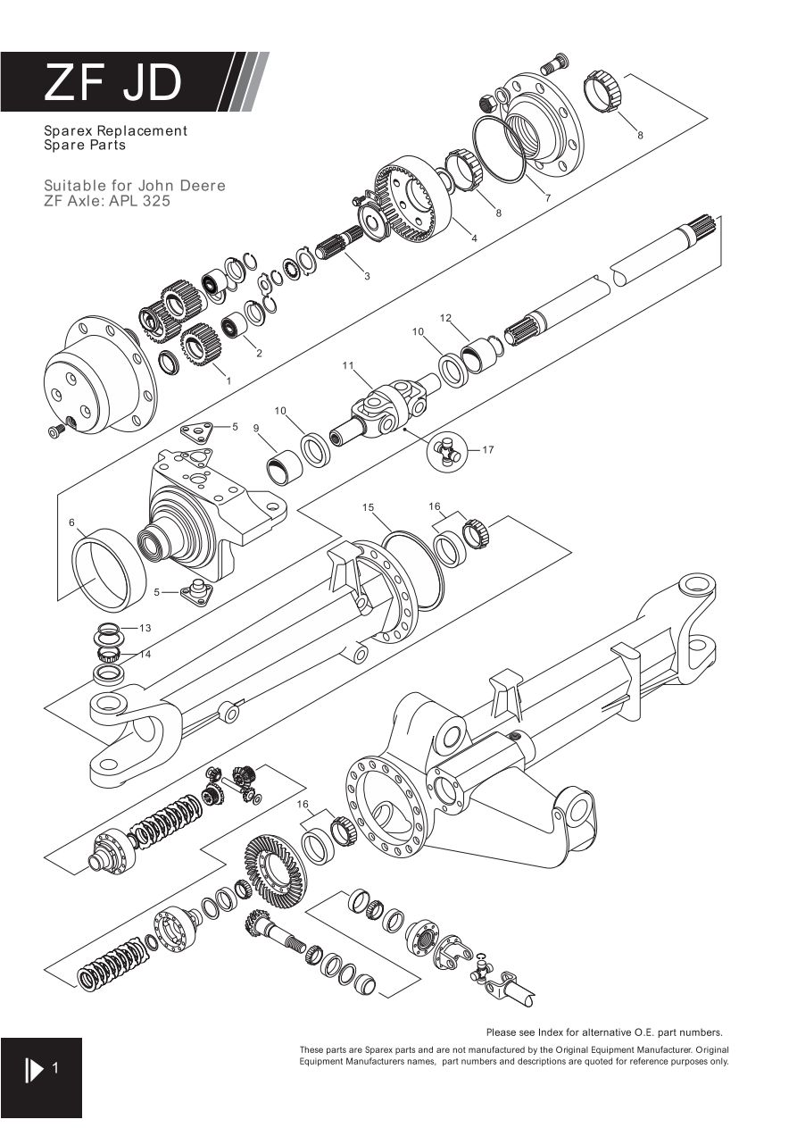 4wd Zf Axle Suitable For John Deere Page 50 Sparex Parts Lists 345 Wiring Diagram S70303 Fw05 1